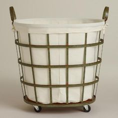 One of my favorite discoveries at WorldMarket.com: Skyler Metal Rolling Hamper