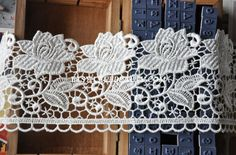Off White Venice Lace Trim Big Flower Lace 3.34 Inch by Lacebeauty, $2.99
