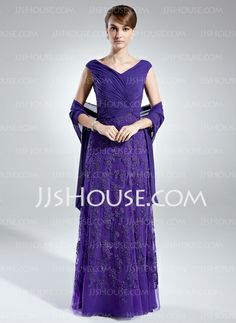 Mother of the Bride Dresses - $159.99 - A-Line/Princess Off-the-Shoulder Floor-Length Chiffon Tulle Mother of the Bride Dress With Ruffle Lace (008006021) http://jjshouse.com/A-Line-Princess-Off-The-Shoulder-Floor-Length-Chiffon-Tulle-Mother-Of-The-Bride-Dress-With-Ruffle-Lace-008006021-g6021