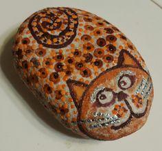 Kid Rock, Rocks, Hand Painted, Cat, Kids, Painting, Animals, Children, Animales