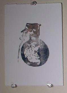Grenade Watercolor Monoprint on paper FREE SHIPPING by ANKarabin, $11.00