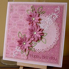 julieanne's cabin: Pretty in Pink. Birthday Cards For Women, Handmade Birthday Cards, Happy Birthday Cards, Greeting Cards Handmade, Paper Quilling Patterns, Art Quilling, Embossed Cards, Fun Fold Cards, Pretty Cards