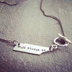 "unique ""you'll always be..."" home sweet home to me, rocky top inspired Tennessee state tag necklace"