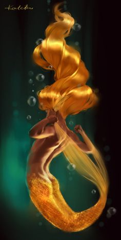 The Golden Mermaid who lives in the Fairy Land Seas with all the mer clan