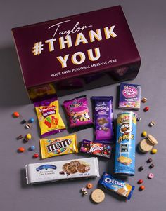 Personalised Thank You Gourmet Giftbox Peanut M&ms, Bubbly Bar, Snack Box, Gourmet Gifts, Level Up, Jelly Beans, Chocolate Chip Cookies, Oreo, Personalized Gifts