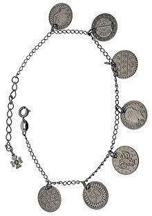 Pulseira Cigana em banho onix com moedas-Clique para maiores detalhes
