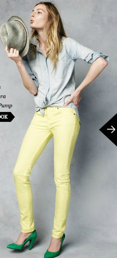 i LOVE the bright colored jeans.