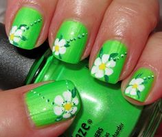 China Glaze Green Nail Polish w/ Daisies