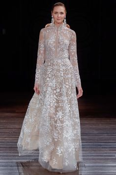Off White Lace Gown with a Beige Underlinjng by Naeem Khan, Look #9