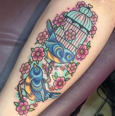 Beautiful birdcage tattoo by Sarah K. Photo taken from Instagram @sarahktattoo.