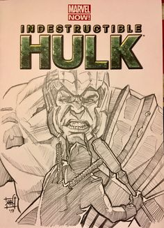 Hulk Variant Sketch Cover by Matthew Hirons Marvel Now, Hulk Marvel, Thor, Sketch, Graphics, Comics, Disney, Cover, Art