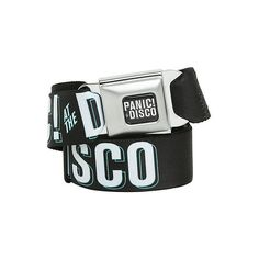 Panic! At The Disco Logo Seat Belt Belt | Hot Topic ($19) ❤ liked on Polyvore featuring accessories, belts, band merch, logo belt and buckle belt