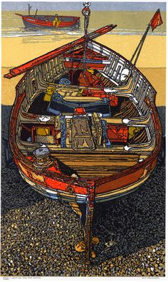 """""""Waiting for the Winch"""" Linocut by H J Jackson…"""