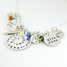 Hand Stamped Family Necklace with Angel Wing - Simply Charming Family Tribute Necklace - hand stamped personalized family necklace