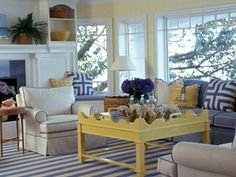 Nautical living room with blue and yellow.