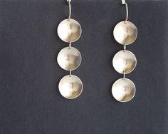 Silver dome disc elegant dangle earrings by juli711. by Juli711