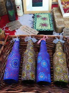Hand-painted bottles by Ginger Rosie Crafts, St George's Market, Belfast