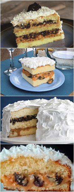 Aprenda a fazer esse BOLO DE DOCE DE LEITE COM AMEIXA, fica muito bom! Bata as claras em neve. Sem parar de bater, acrescente as gemas uma a uma e, aos poucos, o açúcar, até formar um creme fofo e volumoso. Sem bater, adicione, alternadamente, a mistura de leite com manteiga e a farinha. #receita#bolo#torta#doce#sobremesa#aniversario#pudim#mousse#pave#Cheesecake#chocolate#confeitaria