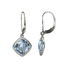 Watercolor Cushion Drops, Cushion Checkerboard Blue Topaz Sterling Silver Earrings from Gemvara