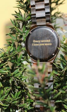 """Every second I love you more"" personalized wood watch, anniversary gift, romantic gift for him from #Treehut Co."
