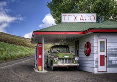 Gas Pumps Stations Photograph - Vintage Gas Station - Chevy Pick-up by Nikolyn McDonald Old Gas Pumps, Vintage Gas Pumps, Acrylic Painting Trees, Pump House, Old Gas Stations, Old Country Stores, Old Trains, Texaco