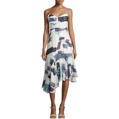 Tibi Oki Drop-Waist Asymmetric Dress ($174) ❤ liked on Polyvore featuring dresses, cream multi, sleeveless dress, v neck sleeveless dress, spaghetti strap dress, asymmetrical hem dress and white loose dress
