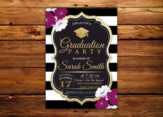 Items similar to Graduation Party Invitation. Black, White and Gold Graduation Party Invitation. on Etsy Invitation Background, Party Background, Graduation Celebration, Graduation Party Invitations, Graduation Ideas, Purple Invitations, Celebration Images, Bright Flowers, Gold Party