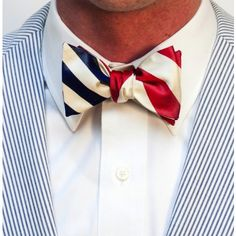 Yacht Club Burgee Reversible Bow Tie in Navy and Red by Social Primer