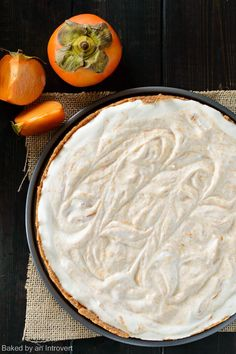 This Honey Yogurt Persimmon Tart is a deliciously light dessert! Fresh persimmon puree with hints of honey and brandy is swirled into a creamy whipped yogurt mousse and sits on top of a tender buttery crust. Honey Recipes, Tart Recipes, Dessert Recipes, Pastry Recipes, Dessert Ideas, Light Desserts, Winter Desserts, Persimmon Recipes, Canned Blueberries