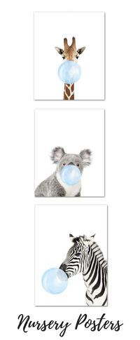 Nursery Decor with Nursery Animal posters wall art Bubble Gum poster#posters #nursery #nurserydecor #babyessentials
