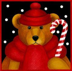 🐻🍬🐻🍬🐻 Christmas Graphics, Christmas Clipart, Christmas Gift Tags, Winter Christmas, Christmas Crafts, Christmas Canvas Art, Christmas Paintings, Christmas Animals, Christmas Pictures