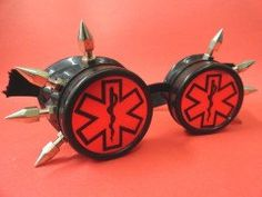 Emergency Red & Black Goggle minion goggle cyberpunk aviator sunglasses cosplay glasses cyber goggles goggles punk goggles yellow tubing
