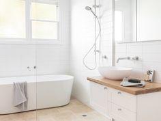 Wooden Bathroom Vanity, White Bathroom, Timber Benchtop, Reece Bathroom, Textured Wall Panels, Timber Vanity, White Wall Tiles, Modern Apartment Decor, Mediterranean Style Homes