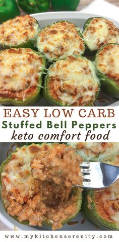 Low Carb Stuffed Bell Peppers - Low Carb Keto - Ideas of Low Carb Keto - Easy low carb stuffed bell peppers. Filled with ground beef cauliflower rice sour cream tomato sauce and seasonings then baked in the oven. Keto and gluten free. Low Carb Stuffed Peppers, Healthy Stuffed Bell Peppers, Beef Recipes, Healthy Recipes, Zoodle Recipes, Easy Low Carb Recipes, Low Carb Hamburger Recipes, Ground Beef Keto Recipes, Paleo Food