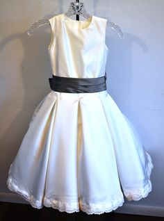 Flower Girl Dress satin and lace custom made to by PattenCreations, $275.00