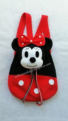 Nylon Minnie Mouse backpack, Handmade crochet backpack birthday gift, christmas gift,perfect to every girls. (Made to order) Minnie Mouse backpack Handmade crochet backpack by Crochet Mickey Mouse, Crochet Disney, Crochet Handbags, Crochet Purses, Baby Knitting Patterns, Minnie Mouse Backpack, Mochila Crochet, Knitted Bags, Crochet Flowers