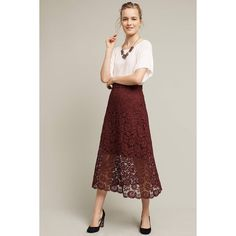 HD in Paris Laced Artifact Midi Skirt (220 CAD) ❤ liked on Polyvore featuring skirts, wine, mid calf skirts, midi skirt and calf length skirts