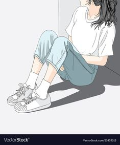 Woman wearing jeans sitting in the sun in the heat.She has a lonely and Sad mood waiting for someone Anime Girl Cute, Beautiful Anime Girl, Anime Art Girl, Back Drawing, Cute Girl Drawing, Art Sketches, Art Drawings, Cover Wattpad, Cartoon Art Styles