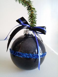 Thin Blue Line Ornament, Police Ornament, Law Enforcement Ornament, Glitter Ornament with Thin Blue Line Bow, Christmas, Cop Gift, LEO gift by BeadsByBay on Etsy