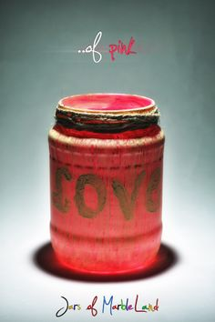 Jars of Marbleland- decorative jars, candle holders, painted glass Diy Candle Holders, Diy Candles, Coffee Cans, Jars, Pink, Painting, Food, Decor, Decoration
