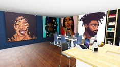 """Lunvr's Art Collection Vol. 5 - Melanated""""I finally got my lazy ass in game to… Sims 4 Teen, Sims Four, Sims 4 Toddler, Sims Cc, Sims Baby, Living Room Sims 4, Tumblr Sims 4, Sims 4 Cas Mods, Sims 4 Black Hair"""