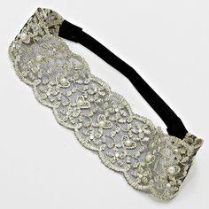 Embroidered Ebony Lace Headband