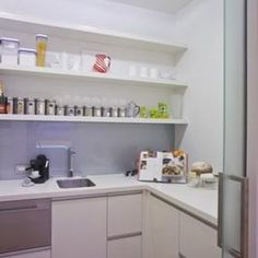 Scullery - sliding door and some open shelving Scullery Ideas, Home Building Design, White Kitchen Decor, Brown Kitchens, Butler Pantry, Kitchen Styling, Kitchen Storage, Apartment Living, Floating Shelves