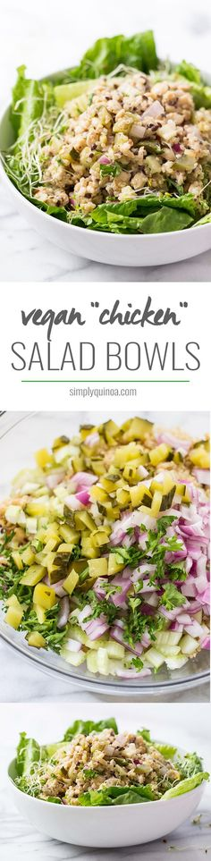VEGAN 'CHICKEN' SALAD BOWLS! the perfect weeknight dinner or office lunch. Can…