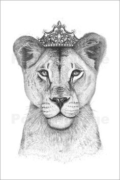 'The Queen' Poster by Valeriya Korenkova Kodamorkovkart illustration of Lioness queen Leo Tattoos, Couple Tattoos, Sleeve Tattoos, Tatoos, Reine Art, Female Lion Tattoo, Queen Poster, Lion Drawing, Queen Tattoo
