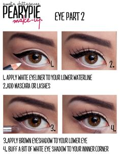 Adding white eyeliner to your bottom eye lid will create the illusion that your eyes are bigger.