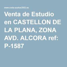 Venta de Estudio en CASTELLON DE LA PLANA, ZONA AVD. ALCORA ref: P-1587