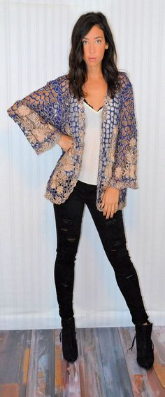 Vintage 90's Blue And Gold Cut-out Cape Poncho by ModishDamsel