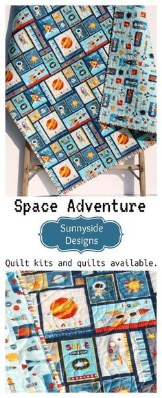 Space Adventure Quilt Boy Nursery Outer Space Spaceship Rocket Planets Moon Crib Bedding Nursery Decor Blue Astronaut Toddler Bed Quilt Space Theme Nursery Ideas Navy Handmade Quilts & Quilt Kits by Sunnyside Designs