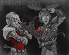 Hiccup and Astrid babysit ... From BadCarrotStudios ... How to train your dragon, hiccup, night fury, dragon, viking, astrid